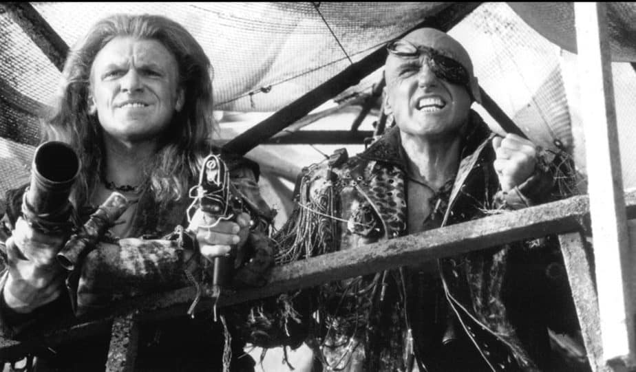Dennis Hopper and Gerard Murphy in Waterworld