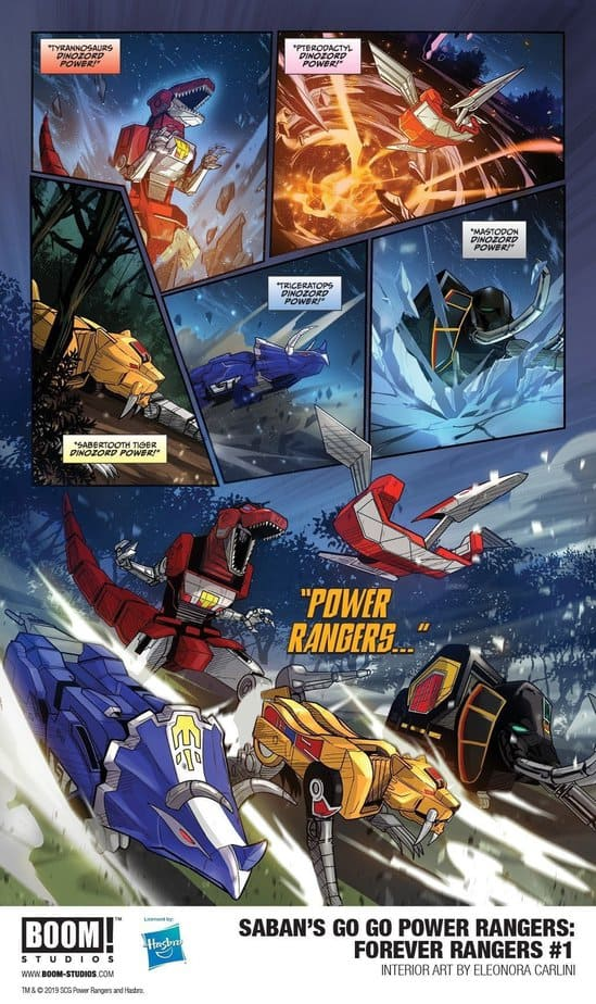 Power rangers commanding their dinozords!