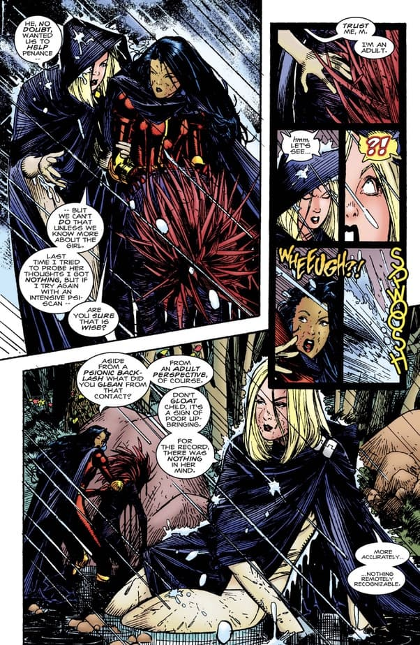 Generation-X members Emma Frost and Monet argue about to awaken an unconscious Penance.
