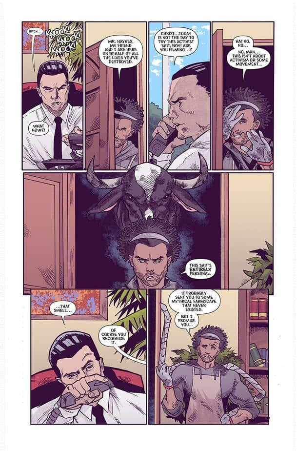Page 2 of Murder #1 where the fistbumped black guy enters the CEO's office with an angry cow aura behind him