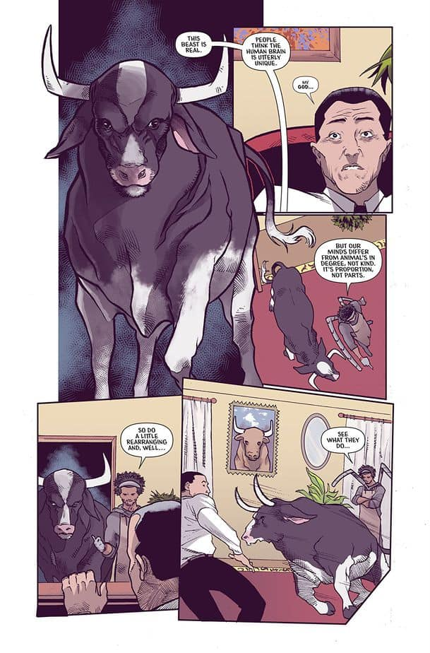 Page 3 of Murder #!, also known as cow takes revenge upon Dyson's CEO because sit may or may not be commanded telepathically to do so.