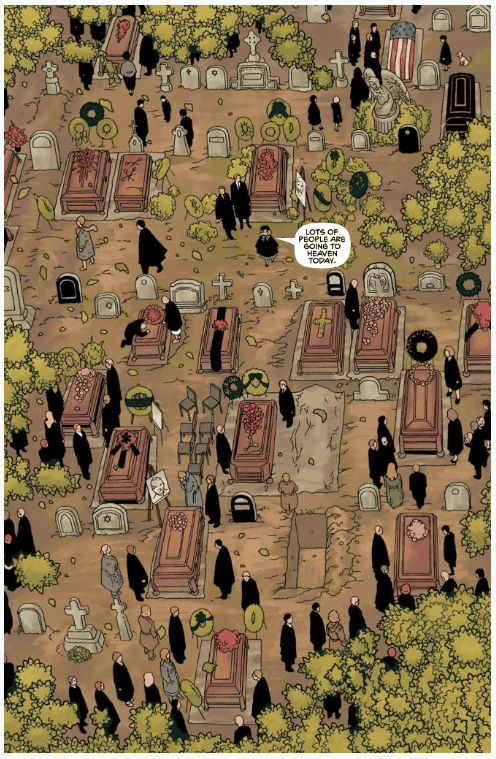 The Clock #1 page excerpt, funeral, death, Top Cow, Image Comics, Soda and Telepaths