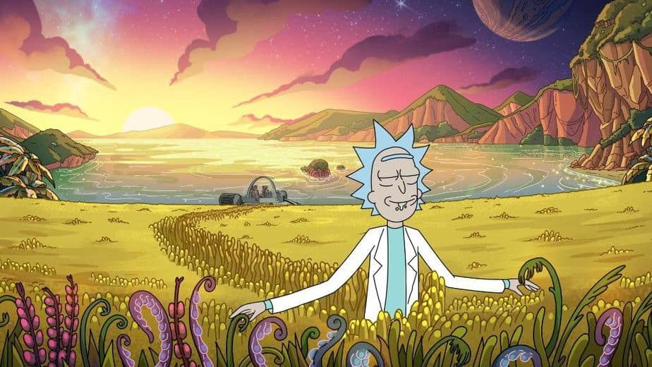 Rick from Rick and Morty in an alien field