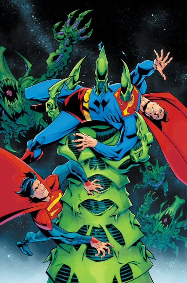 Superman gettiing impaled by a giant green claw