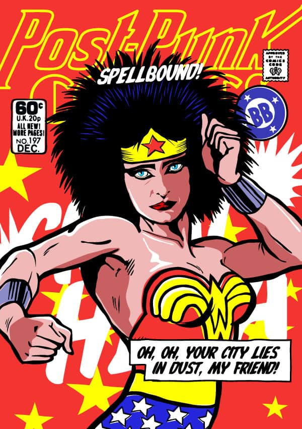 Artist Billy Butcher mashes up Wonder Woman and Siouxie Sioux. https://www.butcherbilly.com/