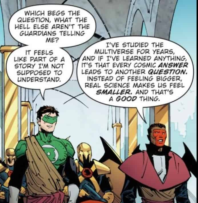 Hal's comment feels like a meta-dig at the confusing continuity here. Script Scott Snyder. Art Greg Capullo. Dark Nights: Metal #4. Publisher DC Comics.